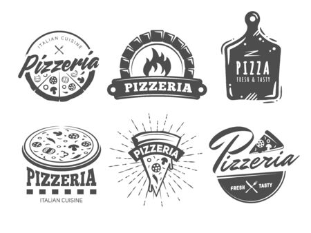 Pizzeria logos. Set of vector badges with pizza, full and slices. Labels for trattoria, pizzeria, Italian cuisine restaurant of cafe.