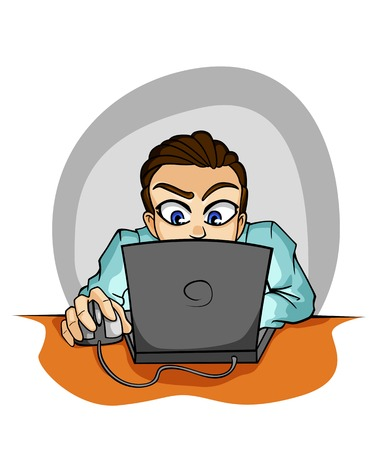 man using computer: Young businessman in cartoon style working on computer Illustration