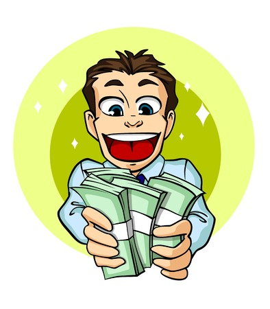 Cheerful businessman with cash money in cartoon style