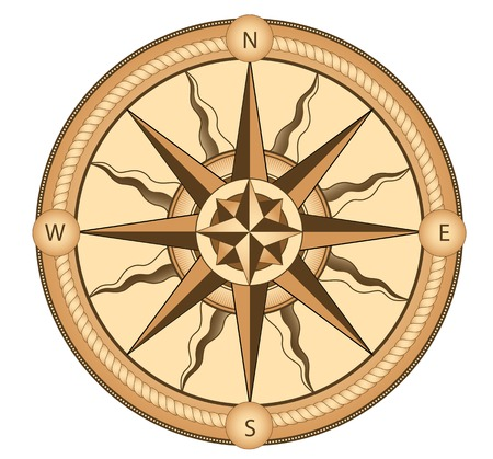 Ccompass in vintage style for medieval or transportation design Vectores