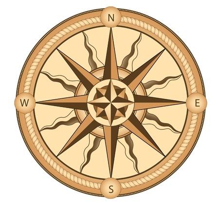 Ccompass in vintage style for medieval or transportation design Illustration