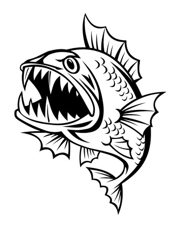 Angry fish in cartoon style isolated on white background