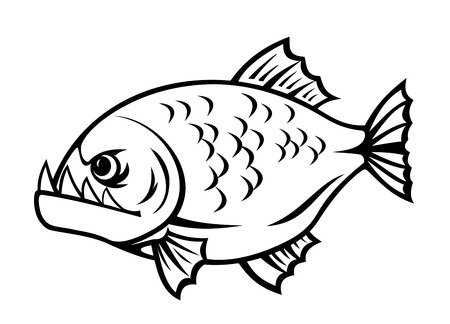 Angry piranha fish in cartoon style isolated on white background Vector