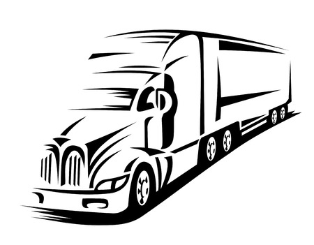 Moving delivery truck on road for transportation design or concept Vector