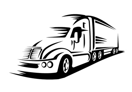 Moving delivery truck on road for transportation design or concept Vectores
