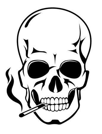 Skull for danger smoke concept in cartoon style Vector