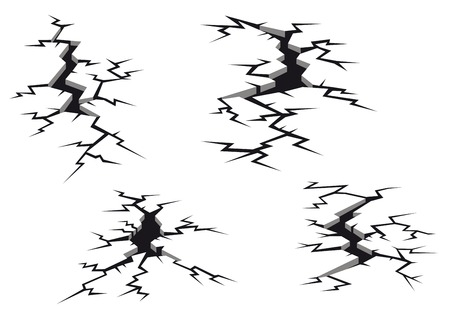 Set of cracks and clefs isolated on white background for disaster design Vector