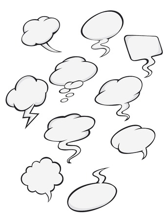 Cartoon clouds set for comics or another design Vector