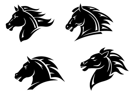 Horse heads for mascot and tatoo design
