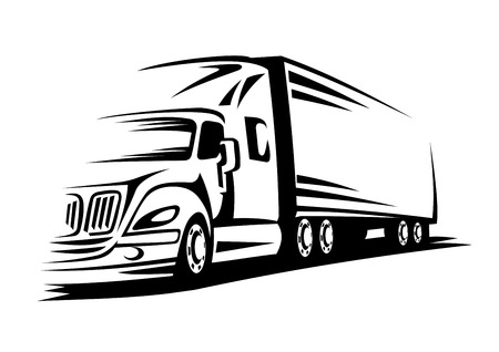 Delivery truck moving on road for transportation design or concept Vettoriali