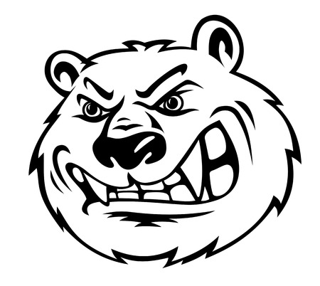 Angry bear in cartoon style isolated on white background