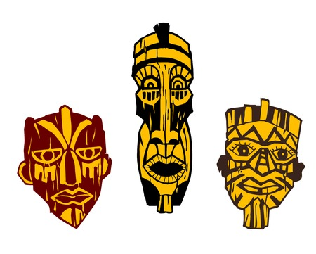 african mask: Ancient wooden masks isolated on white background Illustration