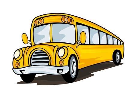 autobus escolar: Autobús escolar amarillo en el estilo de dibujos animados para el diseño concepto de educación Vectores