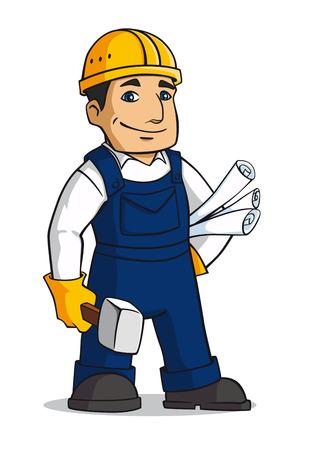 Builder muž v kresleném stylu s kladivem a plány