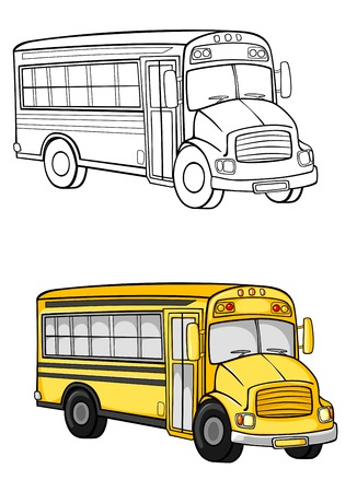 Yellow school bus in cartoon style for education concept design Vector