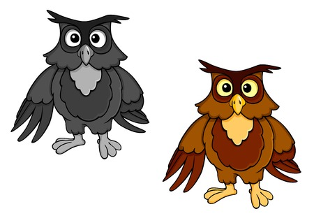 Funny owl in cartoon style isolated on white background