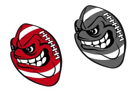 pelota caricatura: Angry bola de la historieta de rugby aislado en fondo blanco