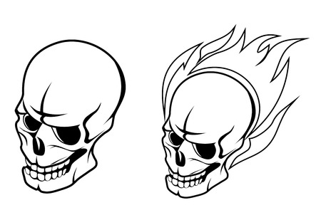 fire skull: Skull with fire flame for tattoo design