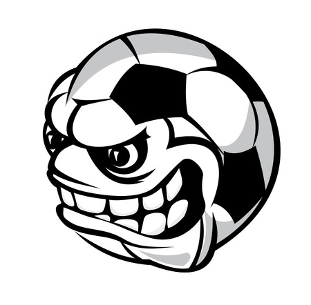 Angry soccer cartoon ball isolated on white background Vector