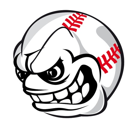 Angry baseball cartoon ball isolated on white background