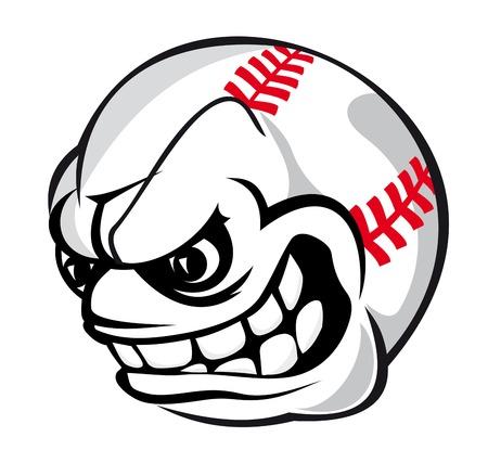 Angry baseball cartoon ball isolated on white background