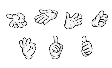 cartoon body: Cartoon hands with gestures isolated on white background. Vector illustration Illustration