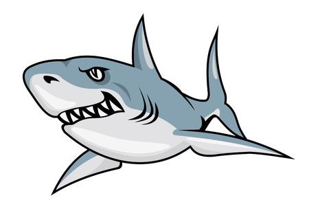 漫画サメ マスコット デザインのための白い背景で隔離