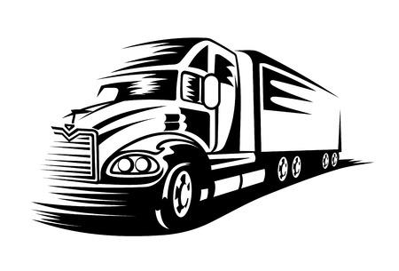 Delivery truck moving on road for transportation design or concept Illustration