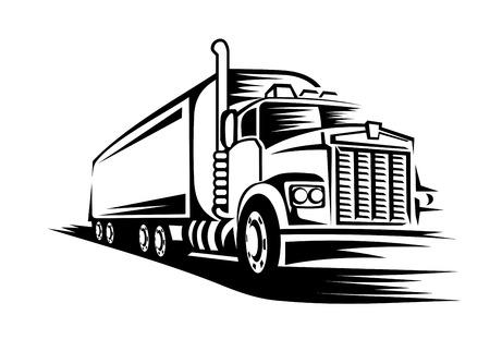 remolque: Camión de reparto movimiento en la carretera para el diseño de transporte o concepto