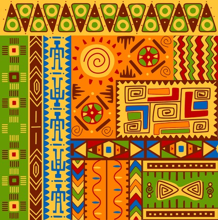 Set of ethnic patterns with ornaments for design Vettoriali