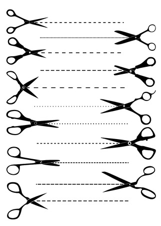 Set of scissors for template or coupon design