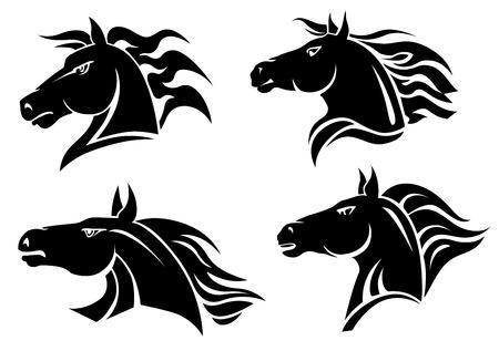 Horse heads for mascot and tattoo design Vettoriali