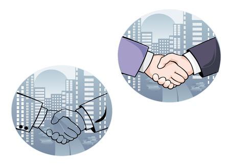 pacto: Apretón de manos de negocios en la ciudad de fondo para el diseño Vectores