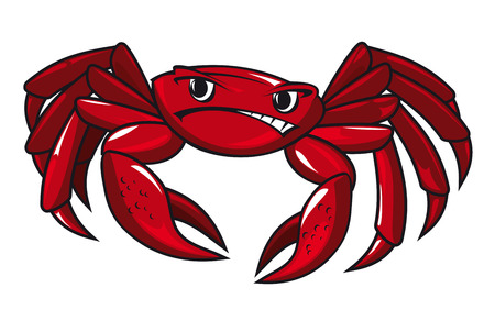 Red crab in cartoon style isolated on white background Vectores