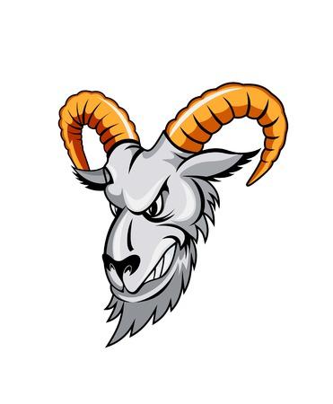 goat head: Wildram in cartoon styleisolatd on white background