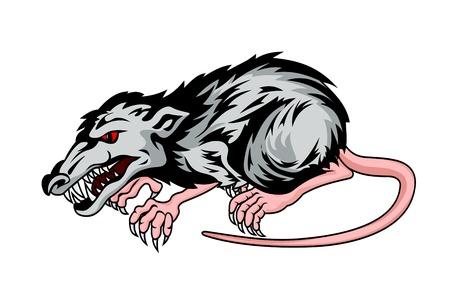 rata caricatura: Rata Peligro aislado en fondo de la pizca de estilo de dibujos animados. Ilustración vectorial