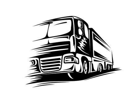 Moving delivery truck on road for transportation design. Vector illustration Illustration