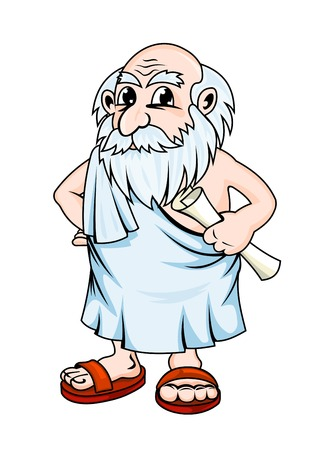 Ancient greek philosopher in cartoon style. Vector illustration Çizim