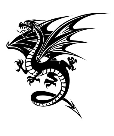 dragon tattoo design: Black danger dragon isolated on white background. Vector illustration