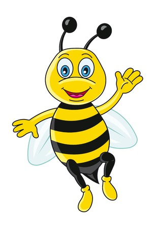 Funny bee in cartoon style. Vector illustration
