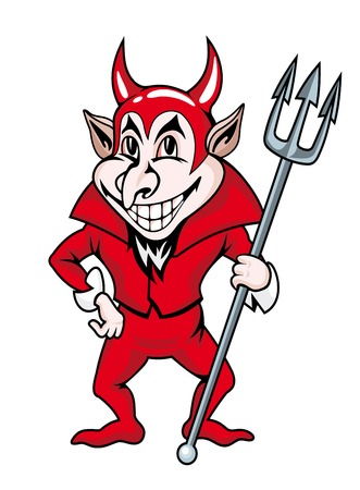 devil horns: Smiling red devil in cartoon style. Vector illustration