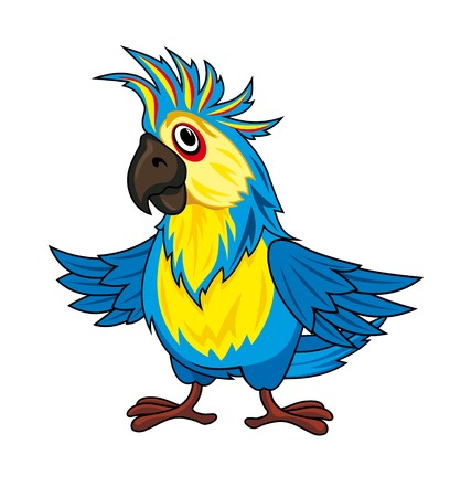 Colorful parrot in cartoon style. Vector illustration Vector