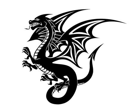 black and white dragon: Black danger dragon tattoo isolated on white background. Vector illustration