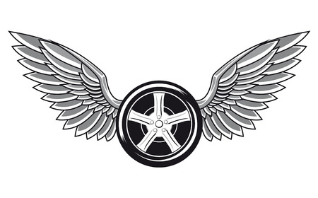 Wheel tyre with wings for tattoo and racing design  イラスト・ベクター素材