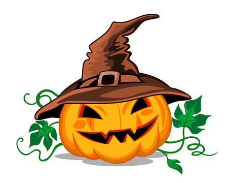 witch silhouette: Halloween pumpkin in heat with green leaves. Vector illustration