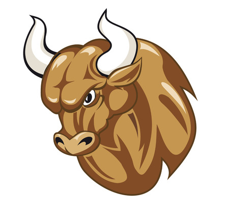 Cartoon bull head isolated on white for concept of power