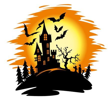 Dark castle on halloween landscape. Vector illustration