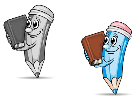grafit: Pencil with book in cartoon style. Vector illustration Ilustracja