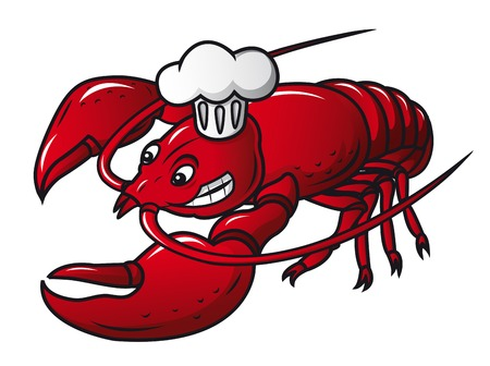 Red prawn in chef hat in cartoon style. Vector illustration