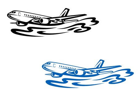 Flying airplane in silhouette style. Vector illustration